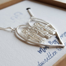 Actual childs drawing necklace in sterling silver