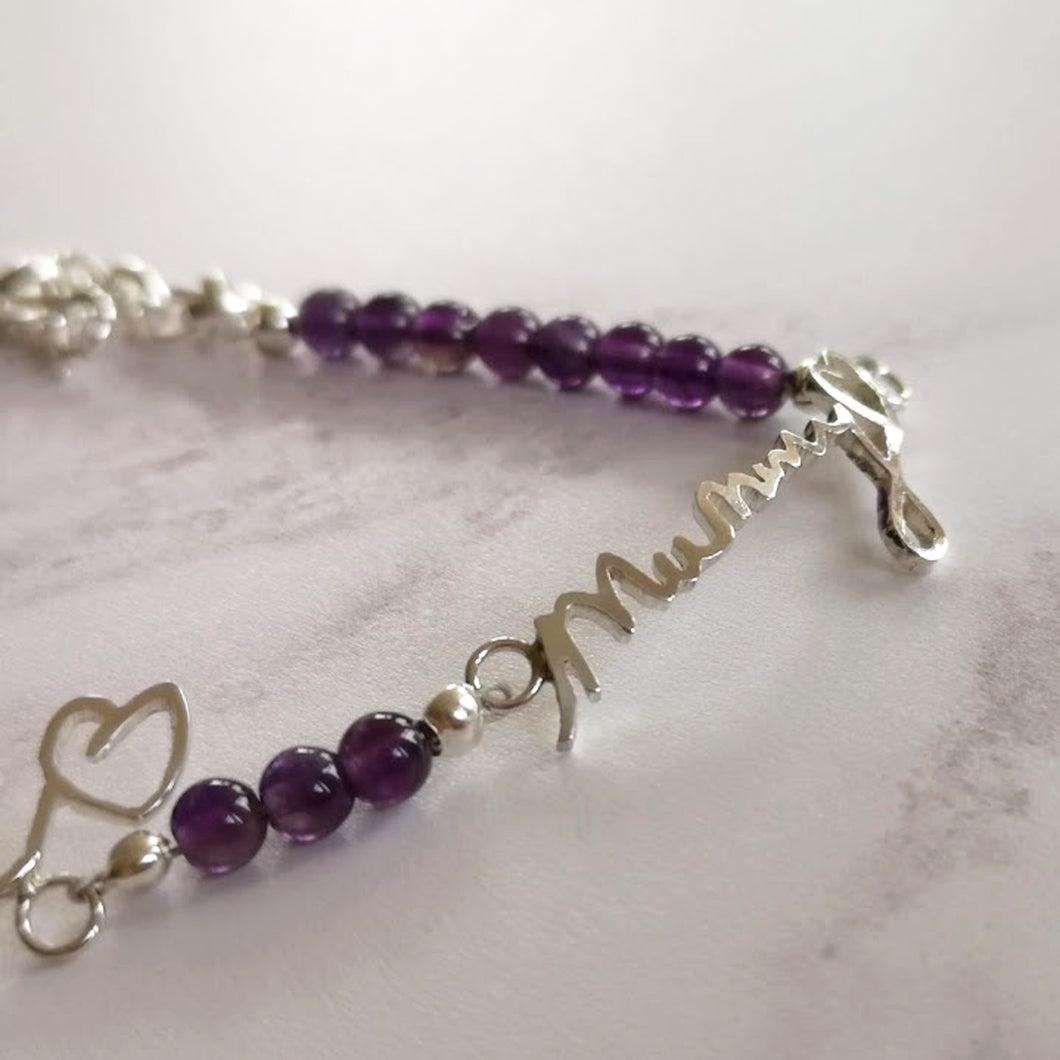 Amethyst actual handwriting bracelet