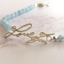 Handwriting bracelet with aquamarine gemstone beads