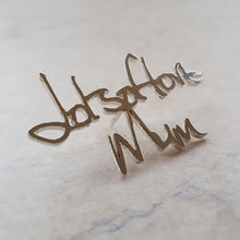 Memorial handwriting brooch for jacket or tie