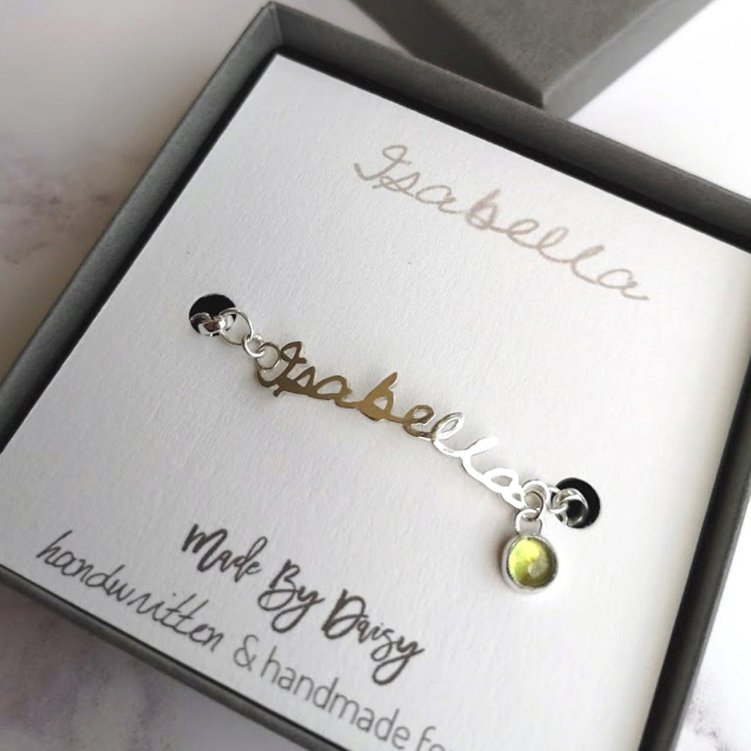 Handwriting bracelet with birthstone charm