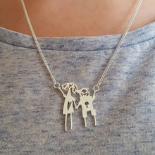 Childrens Drawing Family Portrait Necklace in Sterling Silver - Multiple Characters