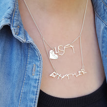 Childrens handwriting layered necklace