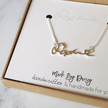 Handwriting keepsake jewellery necklace handmade from actual handwriting