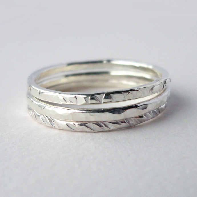 Set of Textured Silver Stacking Rings