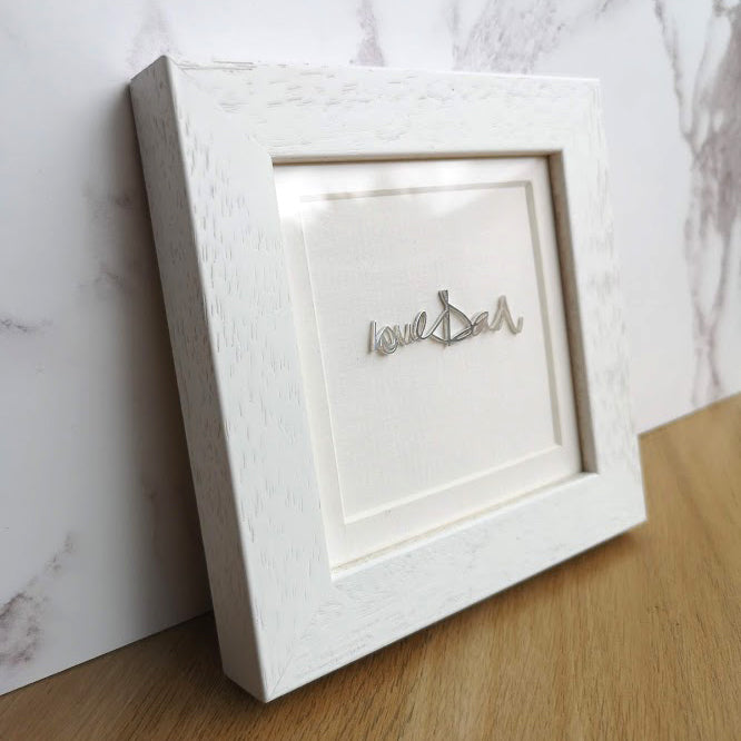 Framed Personalised Handwriting in Sterling Silver