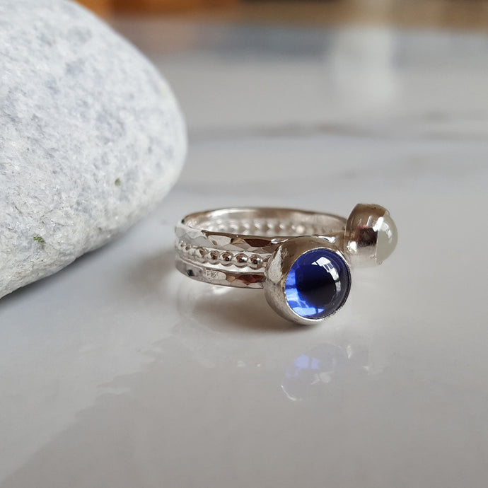 Tanzanite and Moonstone Stacking Ring Set