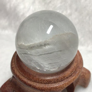 Only 1 Available | Rare Baby Blue Rabbit Hair Rutilated Quartz Crystal Ball with Prominent Layered Phantom Growth | Highest Quality Healing Gemstone for Powerful Healing Throat and Crown Chakra