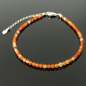 Handmade Adjustable Clasp Anklet - Men's Women's Meditation, Yoga Jewelry with 3mm Carnelian Multicolor Healing Gemstones, Genuine S925 Sterling Silver Parts (Non-Plated) AN028