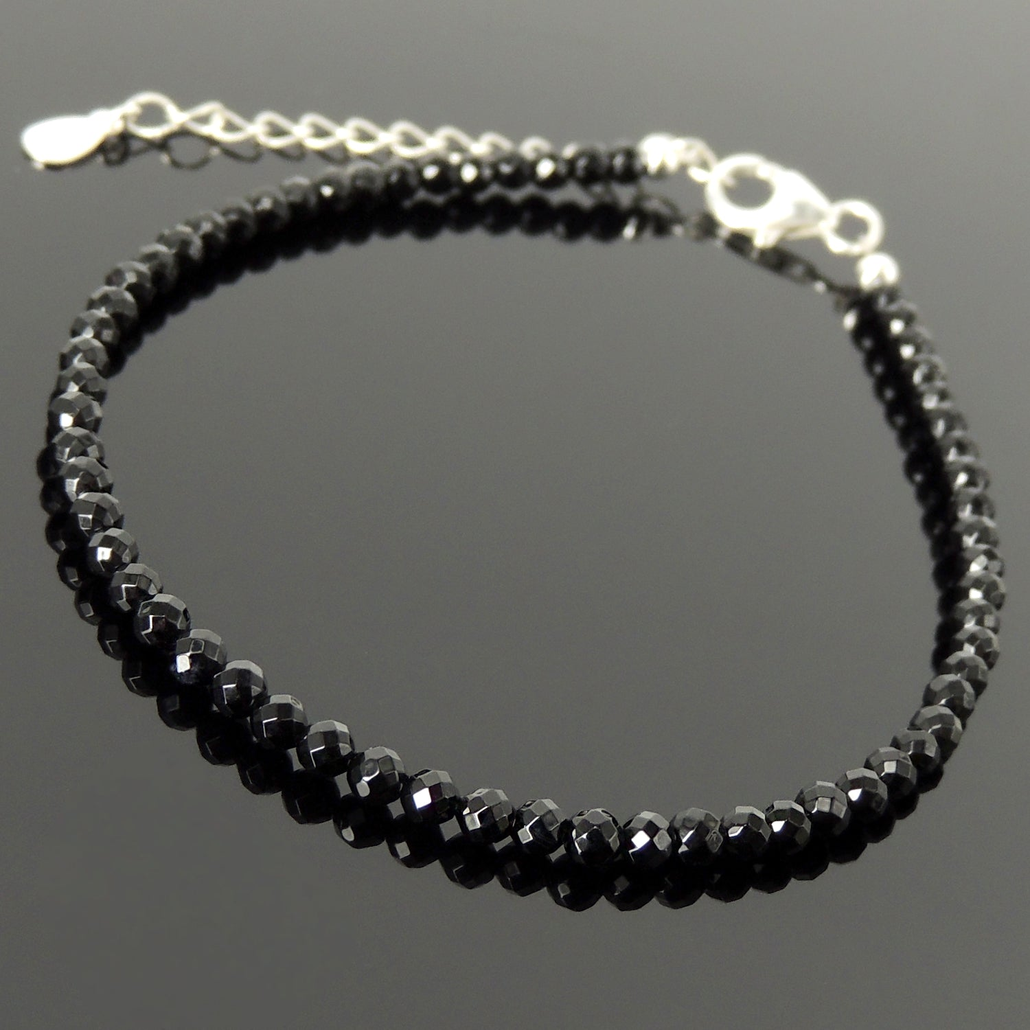 3mm Faceted Bright Black Onyx Anklet Healing Crystal Bracelet with S925 Sterling Silver Chain & Clasp for Daily Wear, Awareness, Mindful Meditation AN036