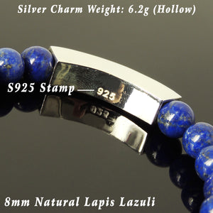 8mm Lapis Lazuli Healing Gemstone Bracelet with S925 Sterling Silver Minimal Rectangle Charm - Handmade by Gem & Silver BR1101