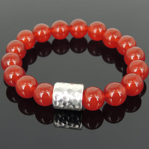 12mm Red Agate Healing Gemstone Bracelet with S925 Sterling Silver Faceted Barrel Charm - Handmade by Gem & Silver BR1139