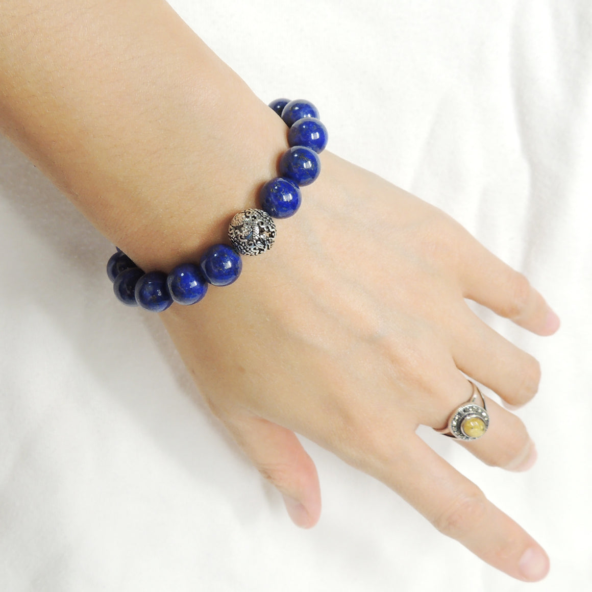 Healing Lapis Lazuli Semiprecious Gemstones, Elegantly Carved Dragon Bead, Handmade adjustable bracelet, Symbol of protection, courage, tranquility, strength, love, spirituality, Gemstone jewelry for All Genders, Prayer, Healing, Yoga, Use with Chakra Meditation to increase your energy flow – durable black cords, adjustable braided drawstring, sterling silver S925, includes FREE Jewelry Bag, Sterling Silver Jewelry Cleaning Cloth