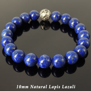 10mm Lapis Lazuli Healing Gemstone Bracelet with S925 Sterling Silver Dragon Protection Bead - Handmade by Gem & Silver BR1178