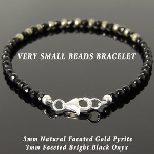Bracelet ONYX PYRITE and Crystal healing Determination Perseverance Pyrite glass beads 8 mm Onyx strength success self-confidence