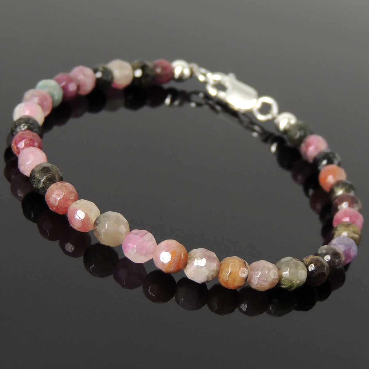 5mm Faceted Tourmaline Healing Gemstone Bracelet with S925 Sterling Silver Spacer Beads & Clasp - Handmade by Gem & Silver BR1193