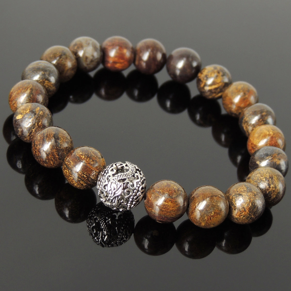 10mm Bronzite Stone Healing Bracelet with S925 Sterling Silver Dragon Protection Bead - Handmade by Gem & Silver BR1194