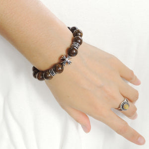 10mm Bronzite Stone Healing Bracelet with S925 Sterling Silver Cross & Spacer Beads - Handmade by Gem & Silver BR1195