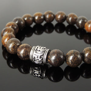 10mm Bronzite Stone Healing Gemstone Bracelet with S925 Sterling Silver OM Meditation Barrel Bead - Handmade by Gem & Silver BR1196