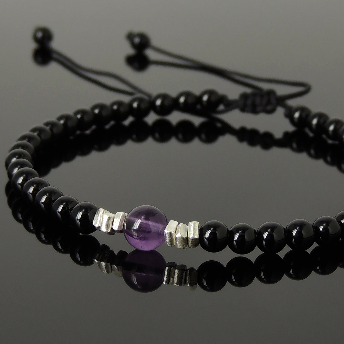 Amethyst & Bright Black Onyx Adjustable Braided Bracelet with S925 Sterling Silver Nugget Beads - Handmade by Gem & Silver BR1203