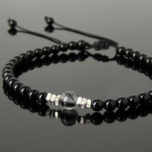 Black Rutilated Quartz & Bright Black Onyx Adjustable Braided Bracelet with S925 Sterling Silver Nugget Beads - Handmade by Gem & Silver BR1205