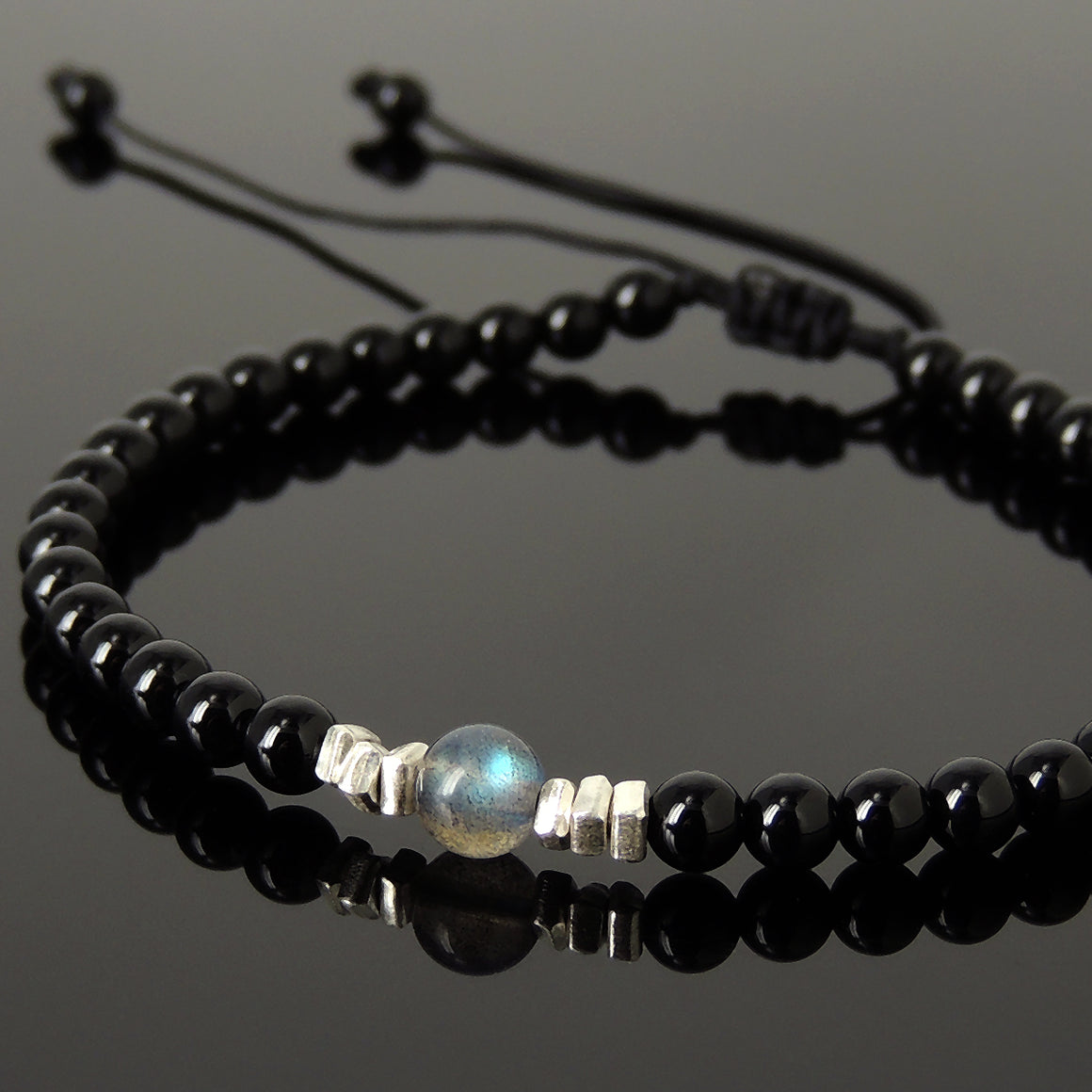 Grade 5A Labradorite & Bright Black Onyx Adjustable Braided Bracelet with S925 Sterling Silver Nugget Beads - Handmade by Gem & Silver BR1206