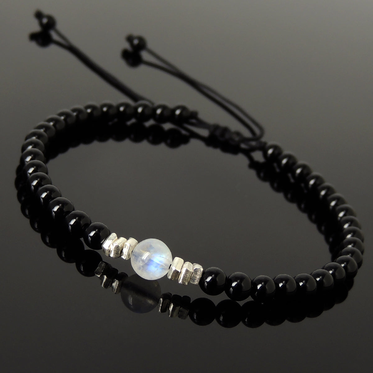 Grade AA Moonstone & Bright Black Onyx Adjustable Braided Bracelet with S925 Sterling Silver Nugget Beads - Handmade by Gem & Silver BR1207