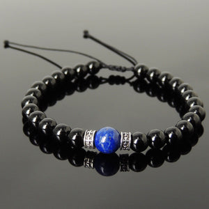 Lapis Lazuli & Bright Black Onyx Adjustable Braided Bracelet with S925 Sterling Silver Celtic Cross Spacer Charms - Handmade by Gem & Silver BR1209