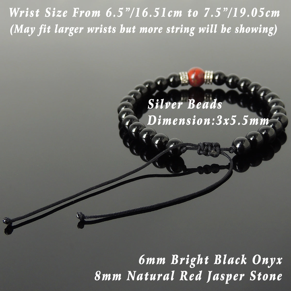 4aaeee2ebecb4 Red Jasper & Bright Black Onyx Adjustable Braided Bracelet with S925  Sterling Silver Celtic Cross Spacer Charms - Handmade by Gem & Silver BR1210