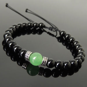 Aventurine Quartz & Bright Black Onyx Adjustable Braided Bracelet with S925 Sterling Silver Celtic Cross Spacer Charms - Handmade by Gem & Silver BR1211