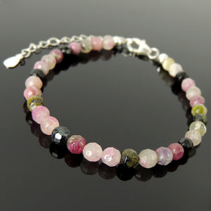 5mm Faceted Multi-color Tourmaline Healing Gemstone Bracelet with S925 Sterling Silver Chain & Clasp - Handmade by Gem & Silver BR1216