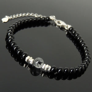 Black Rutilated Quartz & Bright Black Onyx Healing Gemstone Bracelet with S925 Sterling Silver Chain & Clasp - Handmade by Gem & Silver BR1226