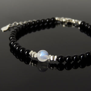 Grade AA Moonstone & Bright Black Onyx Healing Gemstone Bracelet with S925 Sterling Silver Chain & Clasp - Handmade by Gem & Silver BR1228