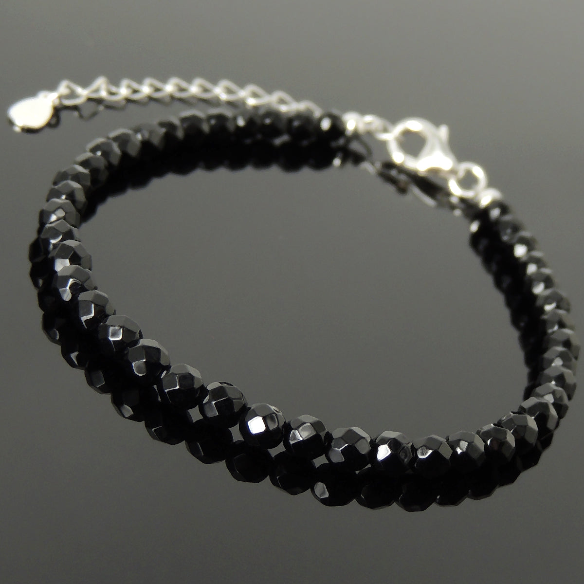 4mm Faceted Black Onyx Healing Gemstone Bracelet with S925 Sterling Silver Chain & Clasp - Handmade by Gem & Silver BR1234