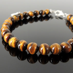 6mm High Grade AAA Brown Tiger Eye Healing Crystal Gemstones - Handmade Adjustable Chain & Clasp Bracelet for Chakra Meditation, Mindfulness, Yoga, Compassion with Genuine S925 Non-Plated Sterling Silver Parts