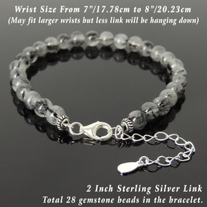 6mm Black Rutilated Quartz Healing Gemstone Bracelet with S925 Sterling Silver Chain & Clasp - Handmade by Gem & Silver BR1245
