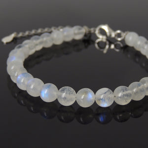 6mm Grade AA Flashing Moonstone Healing Gemstone Bracelet with S925 Sterling Silver Chain & Clasp - Handmade by Gem & Silver BR1246