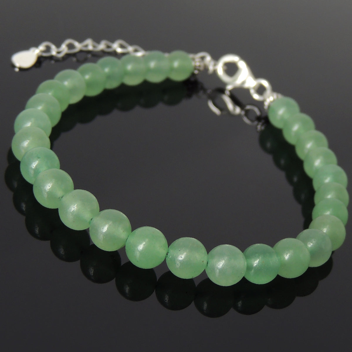 6mm Aventurine Quartz Healing Gemstone Bracelet with S925 Sterling Silver Chain & Clasp - Handmade by Gem & Silver BR1247
