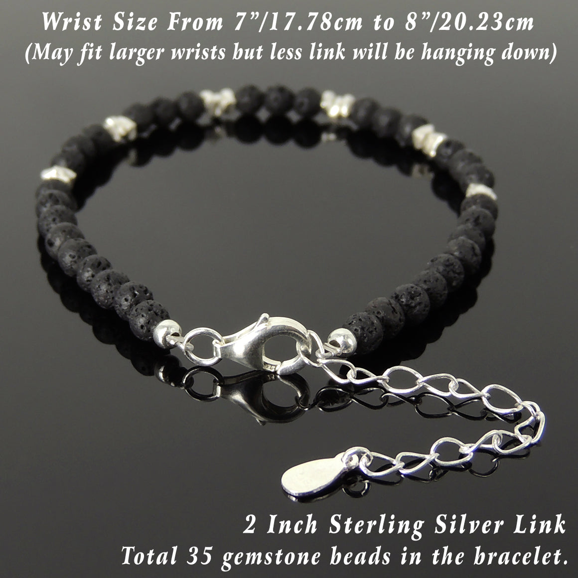 4mm Lava Rock Healing Stone Bracelet with S925 Sterling Silver Nugget Beads, Chain, & Clasp - Handmade by Gem & Silver BR1266