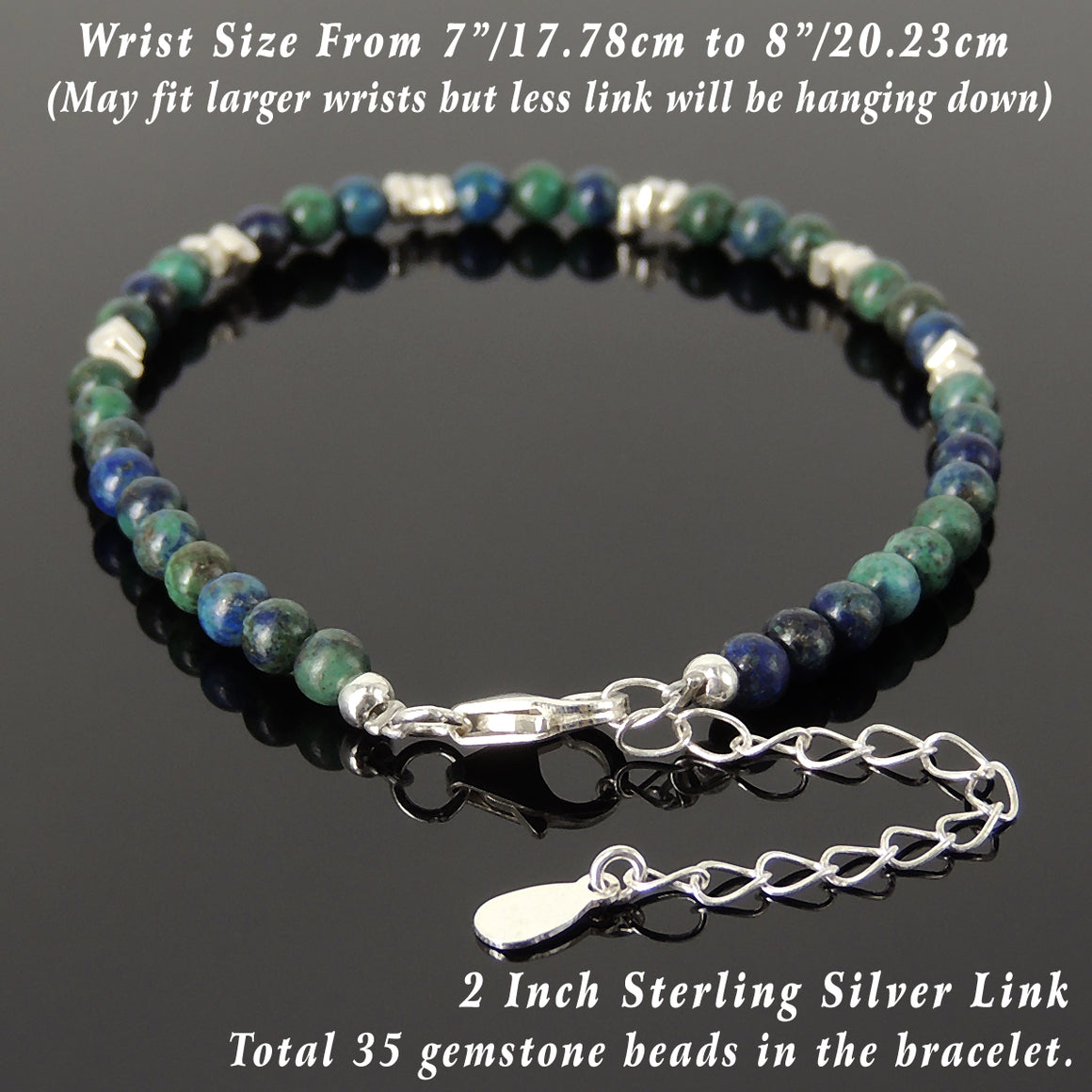 4mm Mixed Chrysocolla Lapis Healing Gemstone Bracelet with S925 Sterling Silver Nugget Beads, Chain, & Clasp - Handmade by Gem & Silver BR1272
