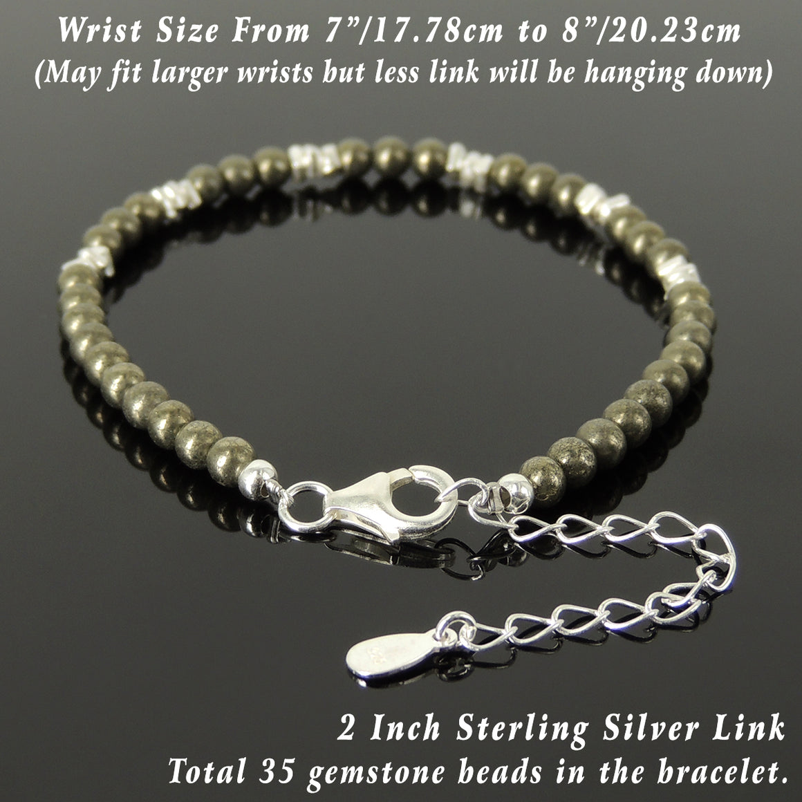 4mm Gold Pyrite Healing Stone Bracelet with S925 Sterling Silver Nugget Beads, Chain, & Clasp - Handmade by Gem & Silver BR1281