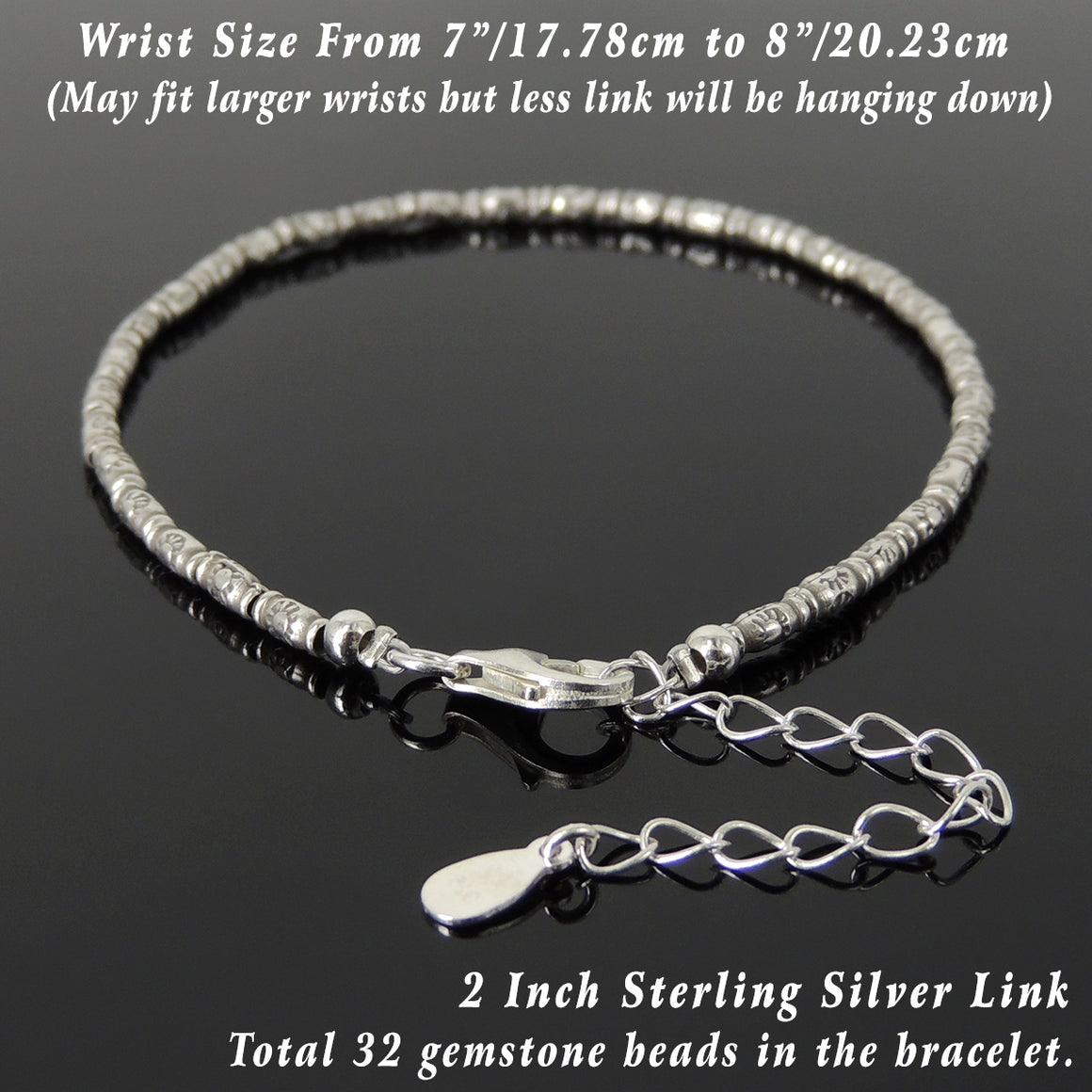 S925 Sterling Silver Healing Bracelet with Vintage Sun Barrel Beads, Chain, & Clasp - Handmade by Gem & Silver BR1282