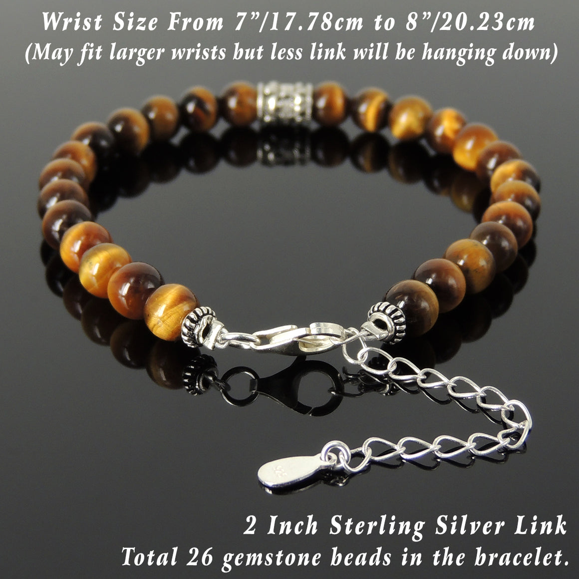 6mm Brown Tiger Eye Healing Gemstone Bracelet with S925 Sterling Silver Fleur de Lis Barrel Bead & Clasp - Handmade by Gem & Silver BR1284