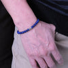 6mm Lapis Lazuli Healing Gemstone Bracelet with S925 Sterling Silver Fleur de Lis Barrel Bead & Clasp - Handmade by Gem & Silver BR1285