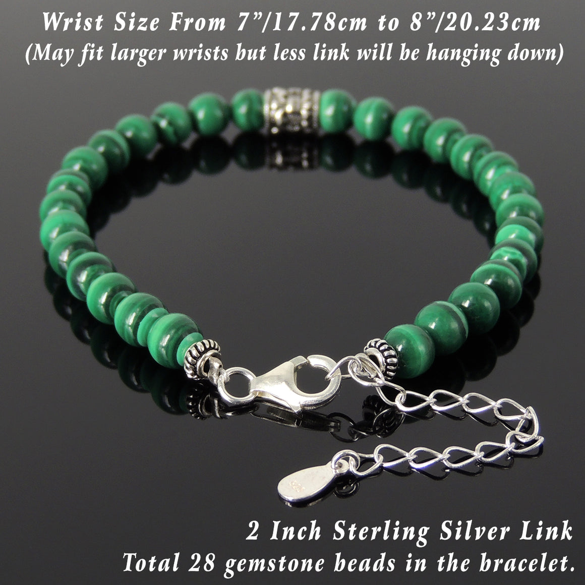 6mm Malachite Healing Gemstone Bracelet with S925 Sterling Silver Fleur de Lis Barrel Bead & Clasp - Handmade by Gem & Silver BR1286