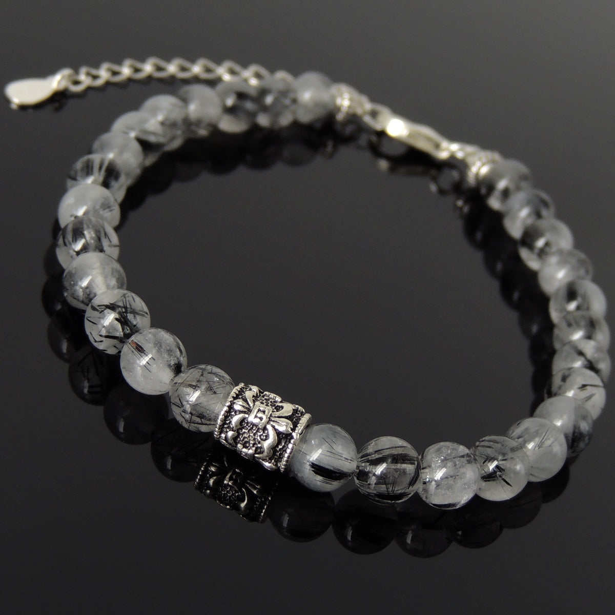 6mm Black Rutilated Quartz Healing Gemstone Bracelet with S925 Sterling Silver Fleur de Lis Barrel Bead & Clasp - Handmade by Gem & Silver BR1295