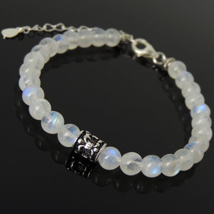 6mm Grade AA Moonstone Healing Gemstone Bracelet with S925 Sterling Silver Fleur de Lis Barrel Bead & Clasp - Handmade by Gem & Silver BR1296
