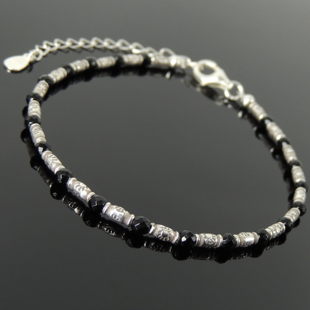 3mm Faceted Black Onyx Healing Gemstone Bracelet with S925 Sterling Silver Vintage Sun Barrel Beads & Clasp - Handmade by Gem & Silver BR1299