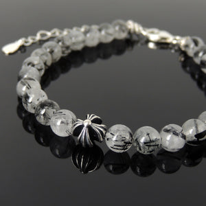 6mm Black Rutilated Quartz Healing Gemstone Bracelet with S925 Sterling Silver Cross, Chain, & Clasp - Handmade by Gem & Silver BR1313