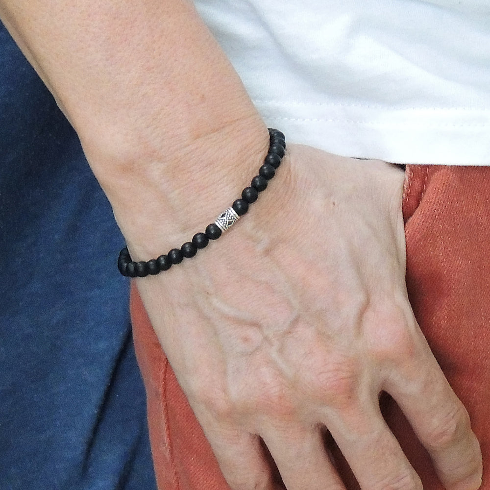 5mm Matte Black Onyx Healing Gemstone Bracelet with S925 Sterling Silver Artisan Bead, Chain, & Clasp - Handmade by Gem & Silver BR1316
